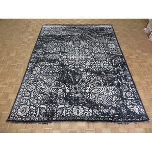 Compare & Buy One-of-a-Kind Dusek Hand-Knotted 9' x 12'1 Wool/Silk Black/White Area Rug By Isabelline