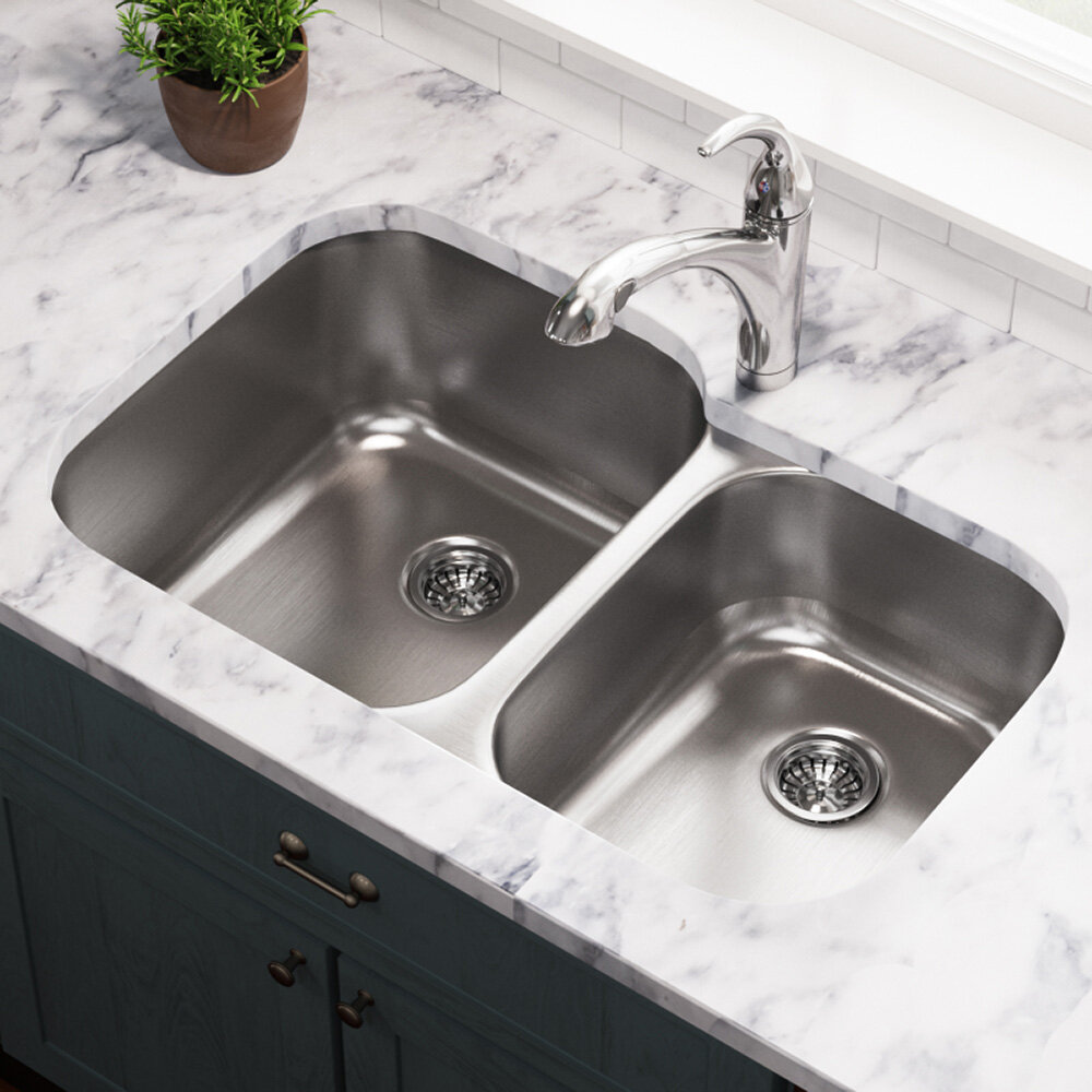 503l 16 Stainless Steel 32 X 21 Double Basin Undermount Kitchen Sink
