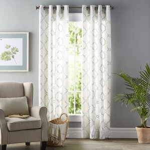 Winnett Geometric Semi Sheer Grommet Single Curtain PanelIvory and Cream Curtains   Drapes You ll Love   Wayfair. Curtains Living Room. Home Design Ideas
