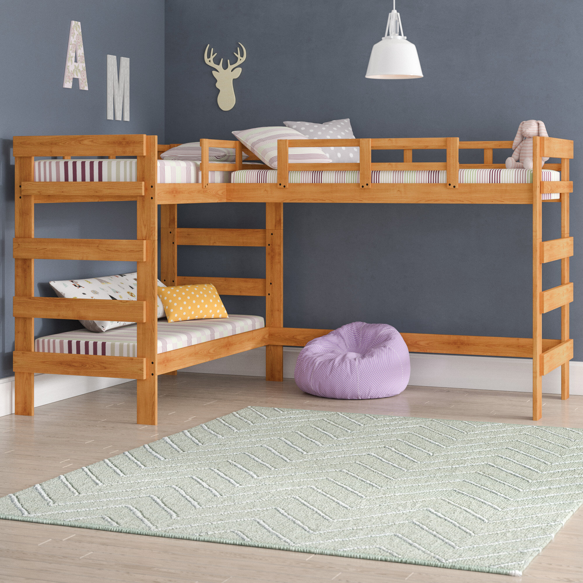 Viv Rae Deondre Twin L Shaped Triple Bunk Bed Reviews Wayfair