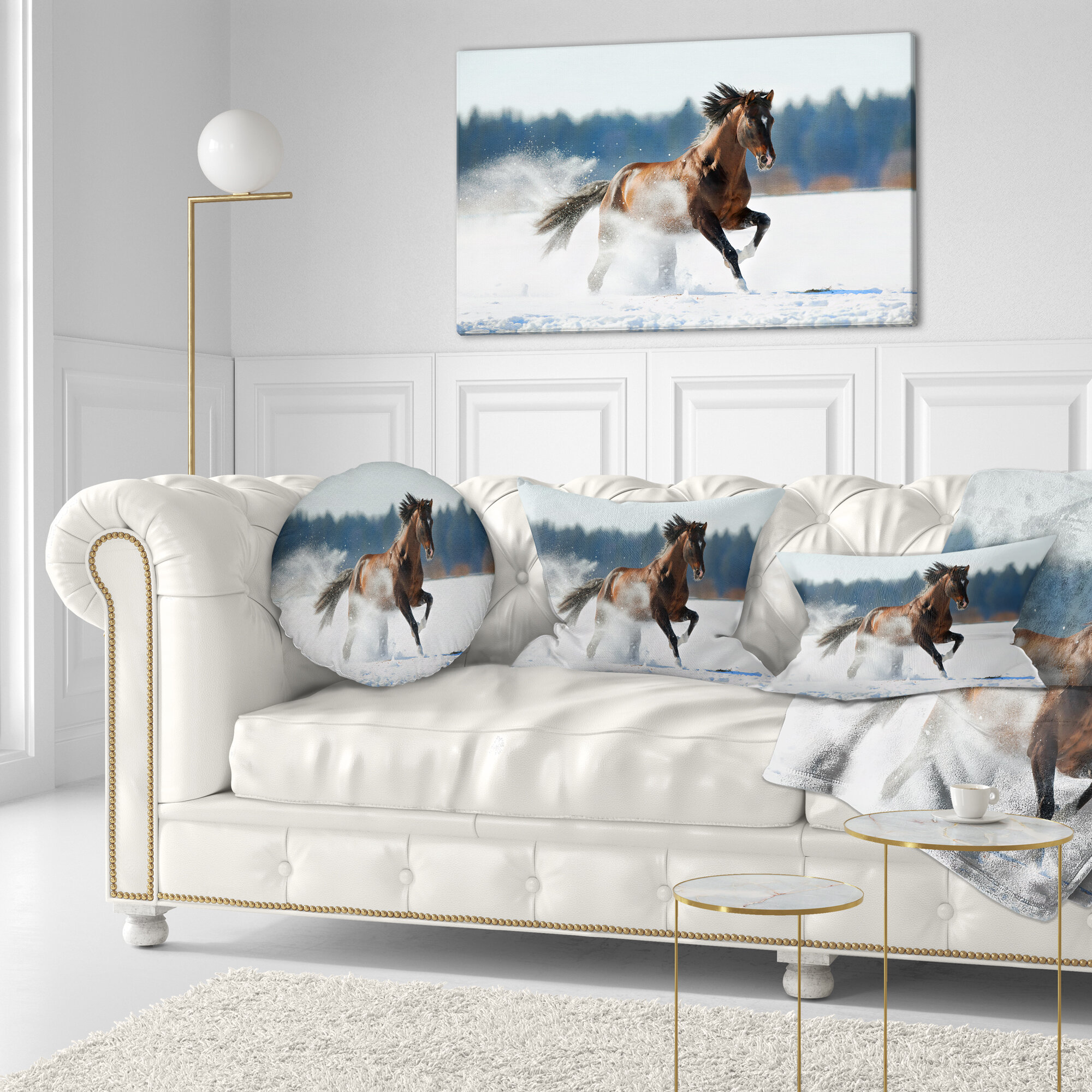 East Urban Home Designart Horse Running In Winter Landscape Photography