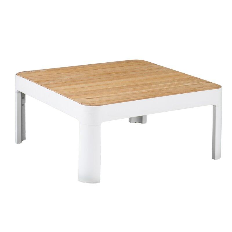 Brayden Studio Lyke Aluminum And Teak Outdoor Square Cocktail Side - Teak outdoor end table