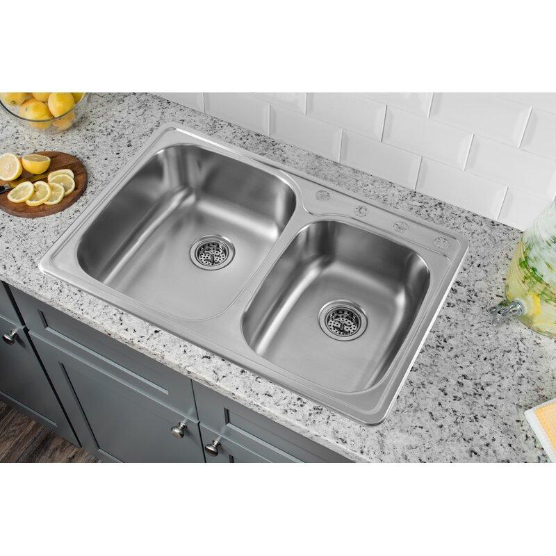 soleil 33 l x 22 w drop in double bowl kitchen sink reviews rh wayfair com double sinks kitchen lowes two kitchen sinks side by side