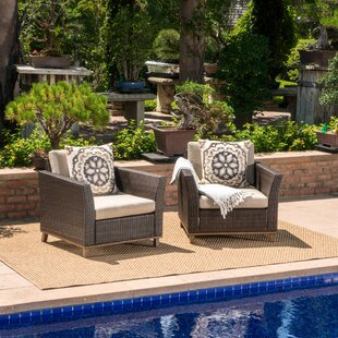 04459cf989c Midland Outdoor Wicker Club Patio Chair with Cushions (Set of 2)
