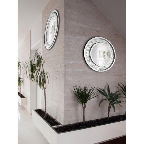 Circular Floating Crystal Beveled Panel Wood Framed Wall Mirror