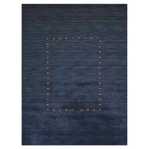Allenville Loom Hand Knotted Wool Blue Area Rug