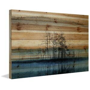 'Tree Isle Reflects' by Parvez Taj Painting Print on Natural Pine Wood