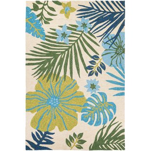 Amberjack Summer Laelia Hand Woven Ivory Fern Indoor Outdoor Area Rug