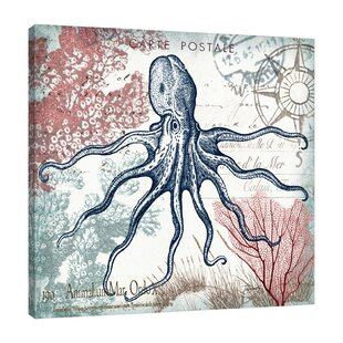U0027Seaside Postcard: Octopus IIIu0027 Graphic Art Print On Wrapped Canvas