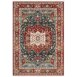 Camille Red Navy Area Rug By Lauren Ralph