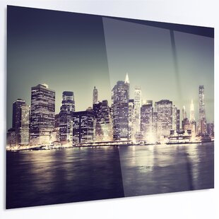 U0027Black And White NYC Night Panoramau0027 Photographic Print On Metal. By Design  Art