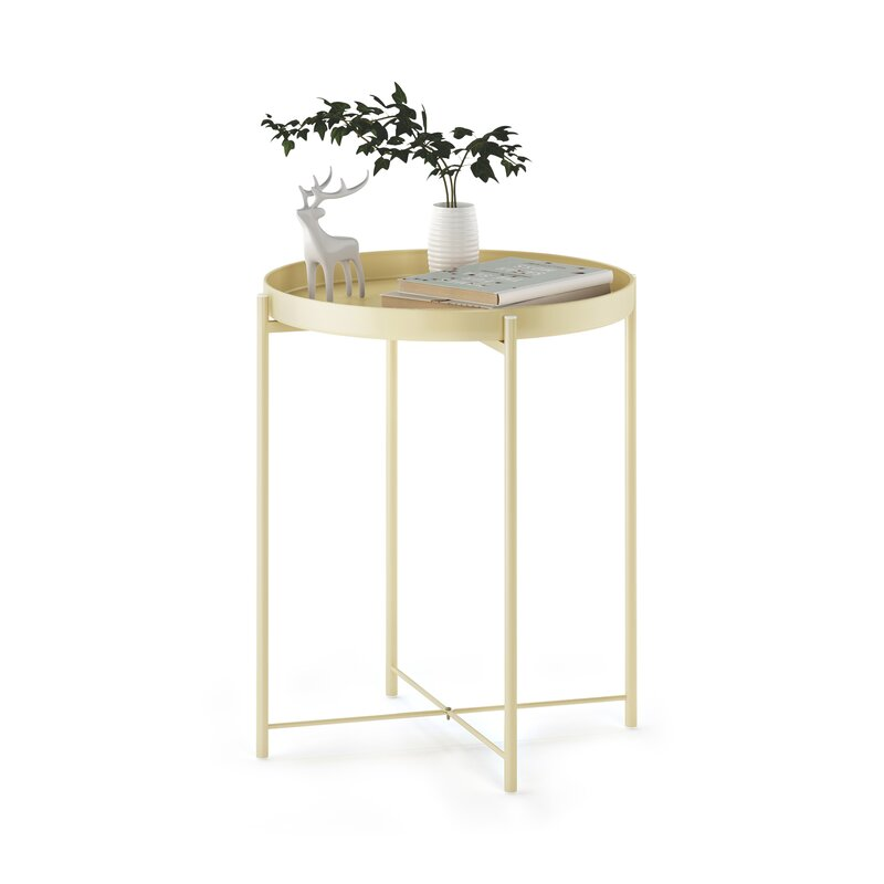 Admirable Murphy Round Metal Tray Table Home Remodeling Inspirations Cosmcuboardxyz