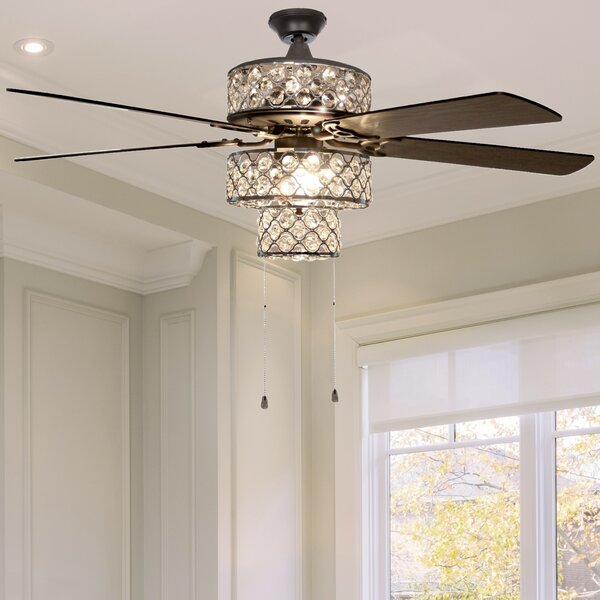 Ceiling Lights & Fans Crystal Ceiling Fan Led Ceiling Fan Lamp 32inch 3 Leaf With 2 Size Rod For Livingroom Bedroom Dinning Room Lights & Lighting