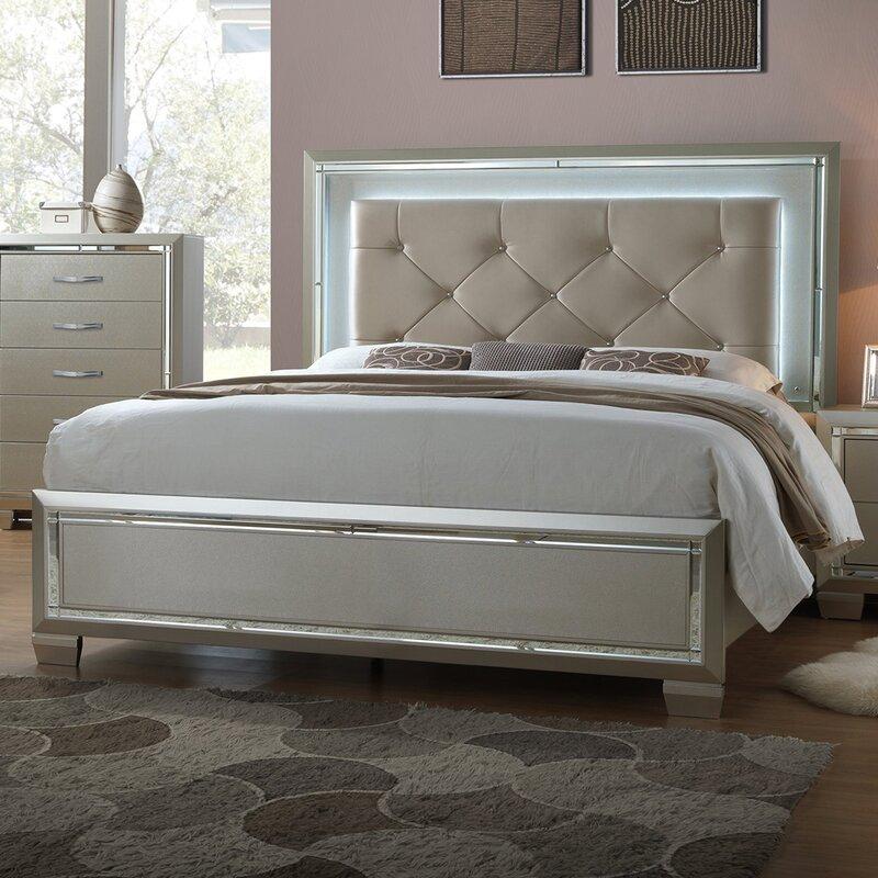 Rosdorf Park Domenick Full Upholstered Platform Bed Frame with LED ...
