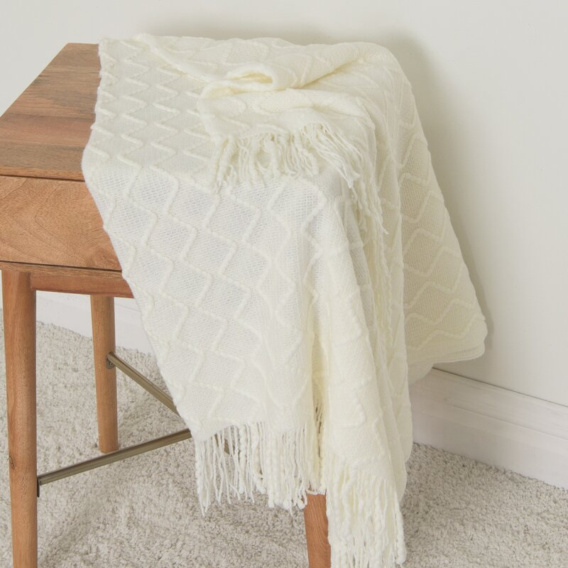 Charlton Home Nicholson Textured Diamond Throw