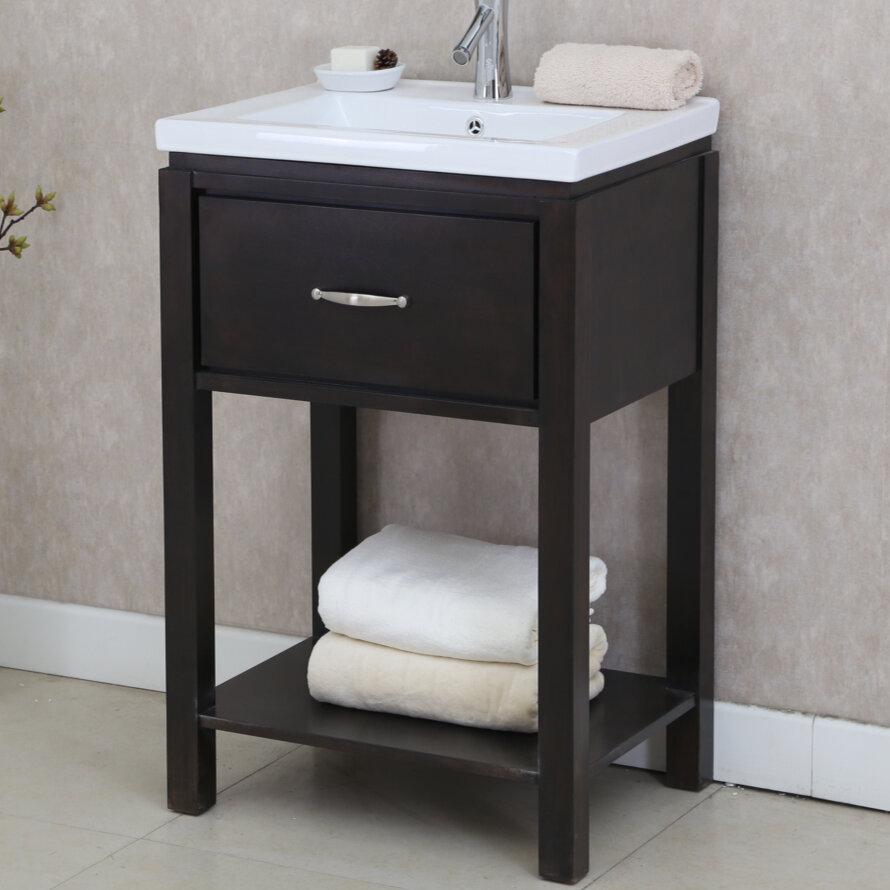 Infurniture 24 single bathroom vanity set with open shelf wayfair
