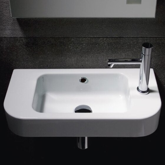 GSI Collection Traccia Curved Ceramic Semi Recessed 22  Wall mount Bathroom  Sink   Reviews   WayfairGSI Collection Traccia Curved Ceramic Semi Recessed 22  Wall mount  . Recessed Bathroom Sinks. Home Design Ideas
