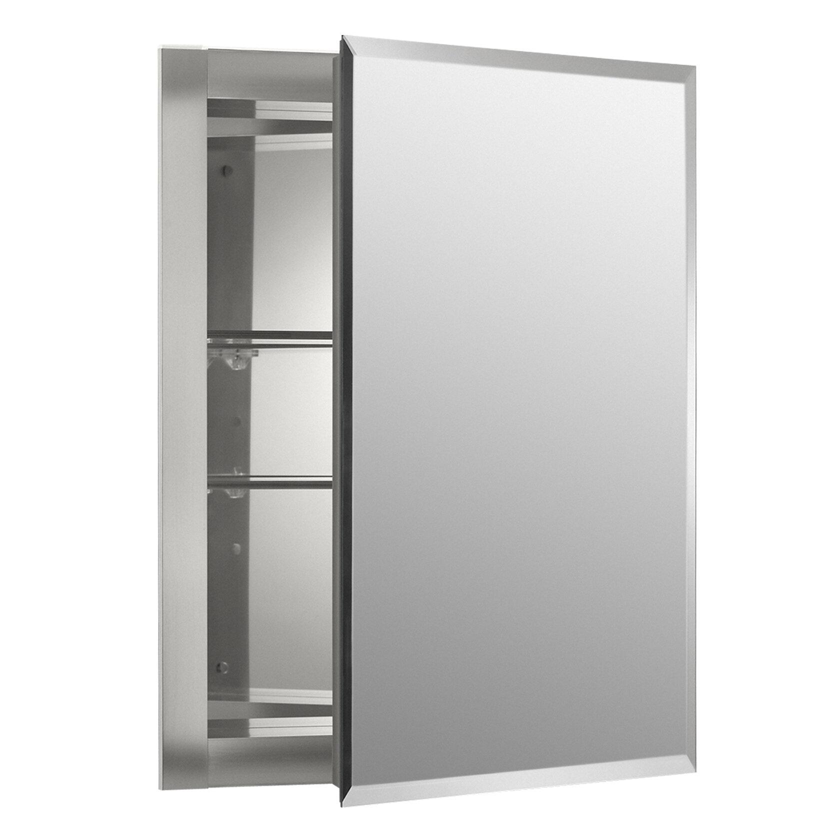 K Cb Clr1620fs Kohler 16 X 20 Recessed Frameless Medicine Cabinet With 2 Adjule Shelves Reviews Wayfair