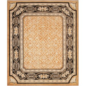 Leann Hand Knotted Rectangle Wool Rust Area Rug