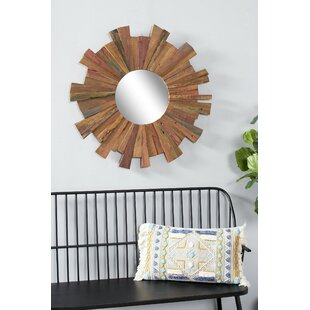 Micaela Round Reclaimed Wood Eclectic Accent Mirror