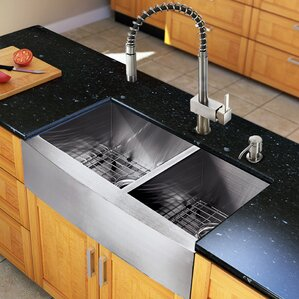 VIGO 33 inch Farmhouse Apron 60/40 Double Bowl 16 Gauge Stainless Steel Kitchen Sink with Lincroft Stainless Steel Faucet,...