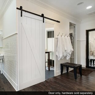 Paneled Manufactured Wood Primed Planked Barn Door Without Installation Hardware Kit