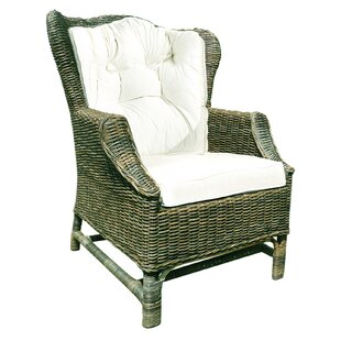 Rattan Wicker Wingback Chair Set With Cushions (Set Of 2)