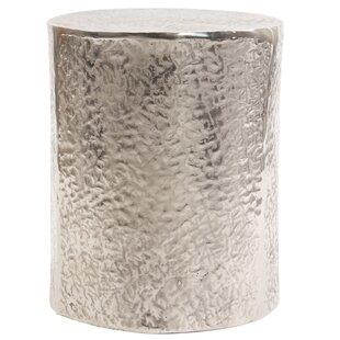 Wonderful Cammi Textured Aluminum Drum End Table