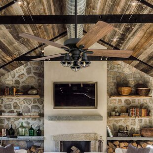 Farmhouse rustic ceiling fans birch lane 52 5 blade led ceiling fan aloadofball Images