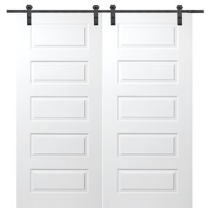 Molded Primed Rockport 5 Panel Interior Barn Door