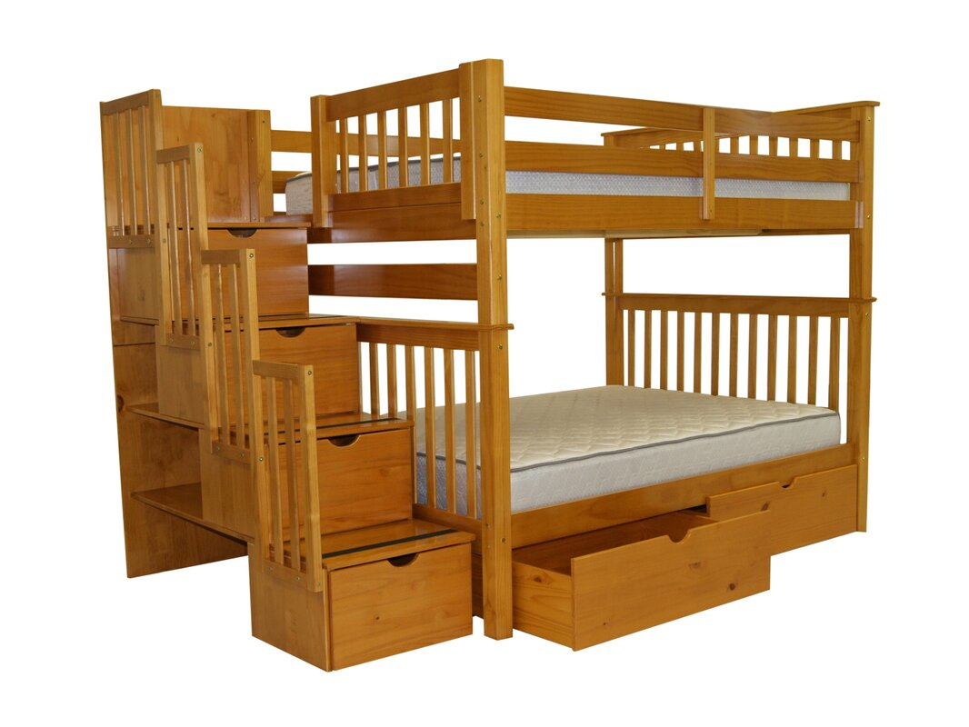 Bunk bed with stairs and storage - Stairway Full Over Full Bunk Bed With Storage