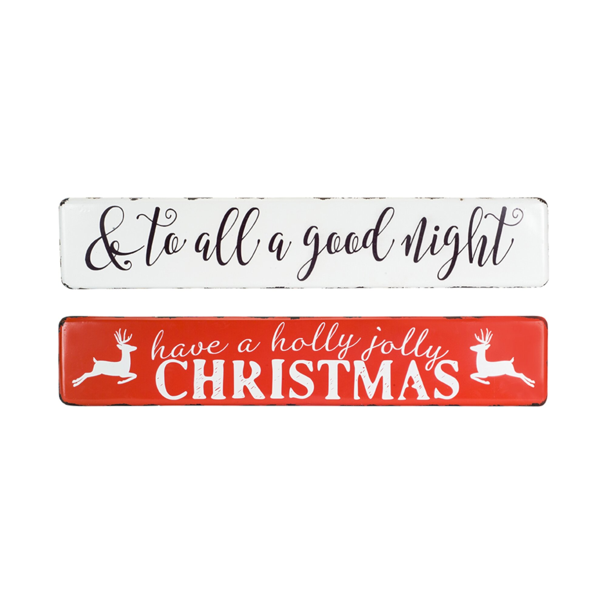2 Piece Metal Christmas Wall Decor Set