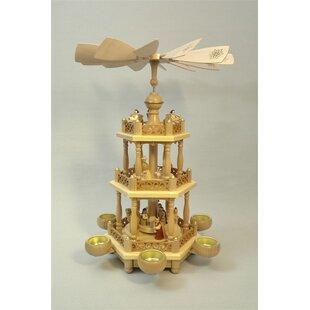 2 tier nativity natural german wood christmas tea light pyramid