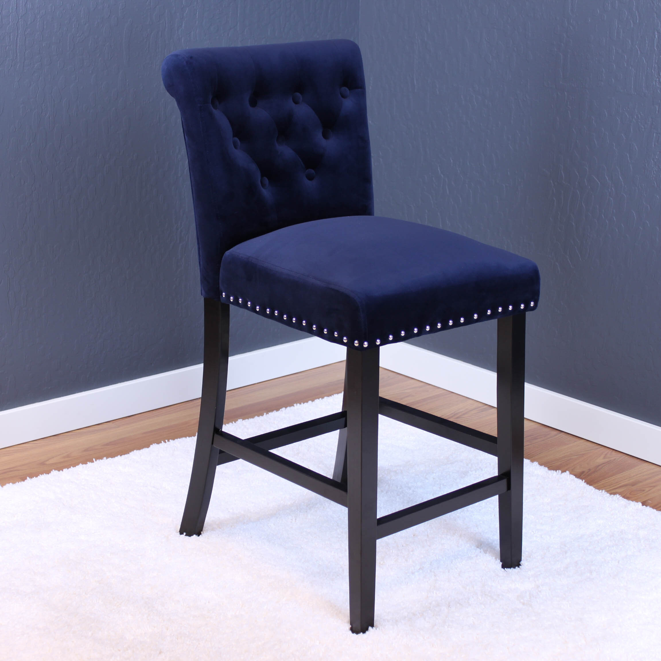 Erling Velvet Counter 26 Bar Stool Reviews Birch Lane
