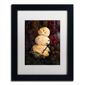 'Forest Snowman' by Lois Bryan Framed Painting Print