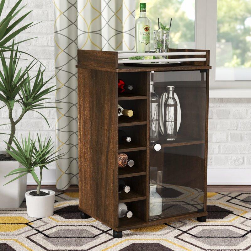 Zipcode Design Kayleigh Glass Door Bar Cart & Reviews