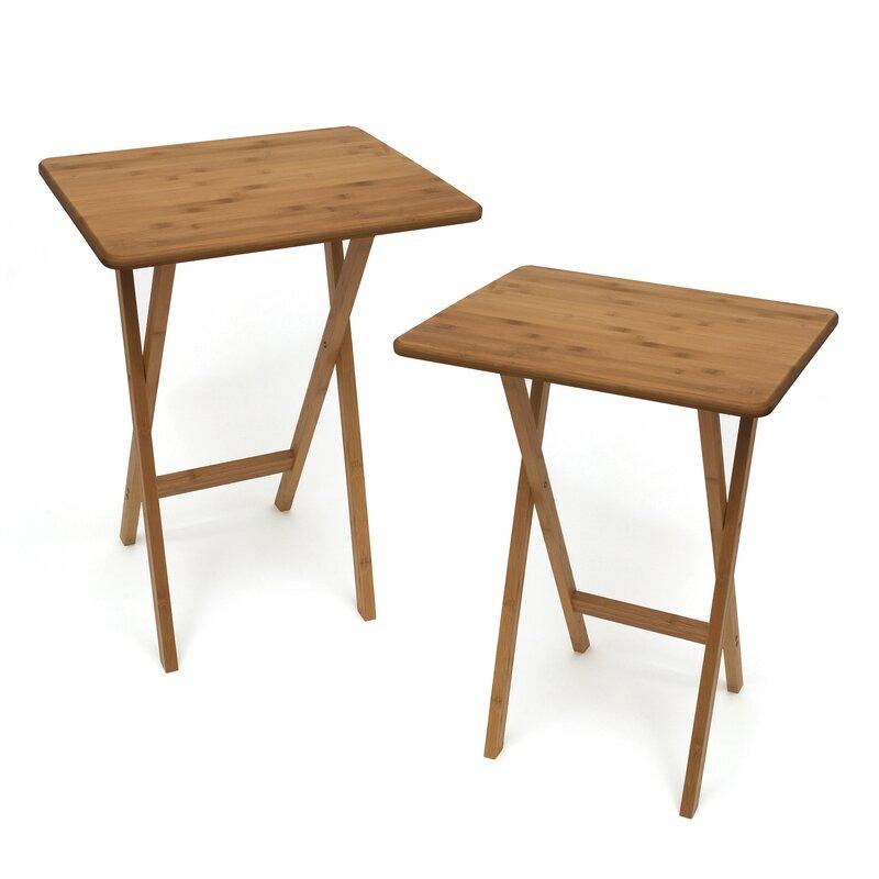 Genial Bamboo Rectangular Snack Tray Table