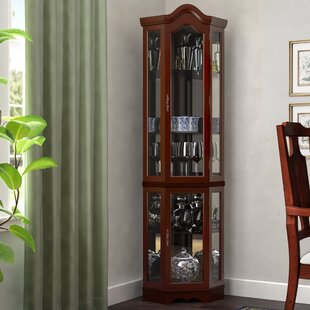 Erastus Lighted Corner Curio Cabinet
