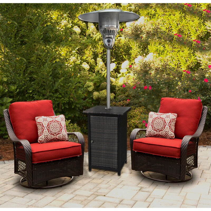 Square Wicker 41,000 BTU Propane Standing Patio Heater