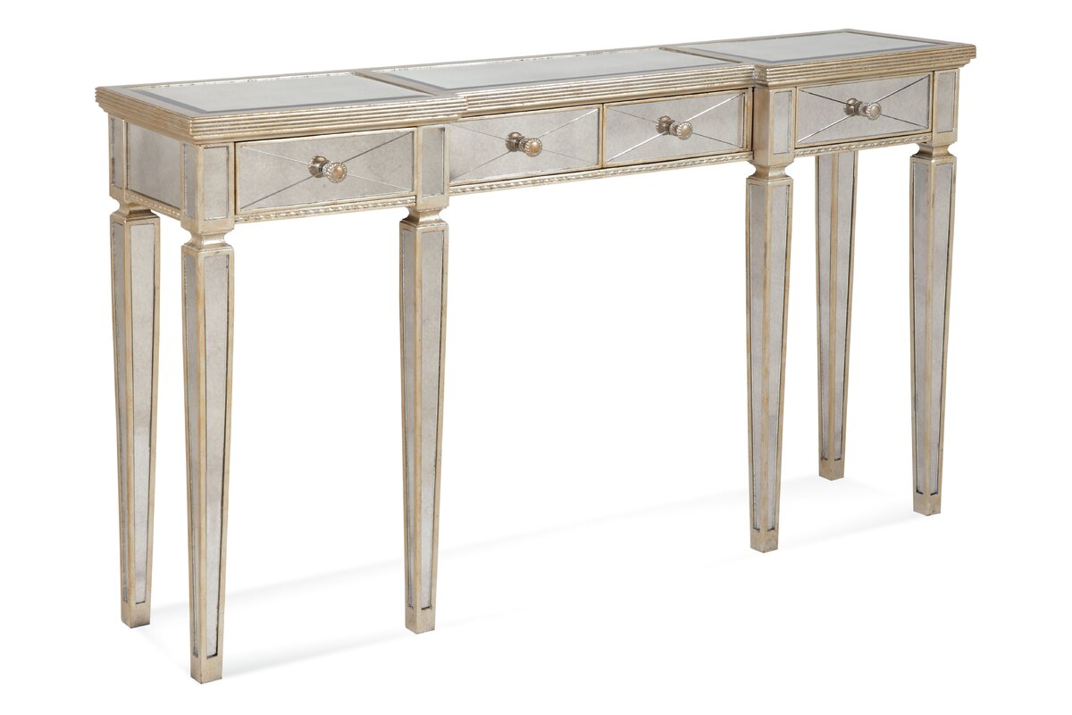 Willa arlo interiors roehl mirrored console table with drawers roehl mirrored console table with drawers geotapseo Image collections