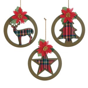 Plaid Silhouette 3 Piece Hanging Figurine Set