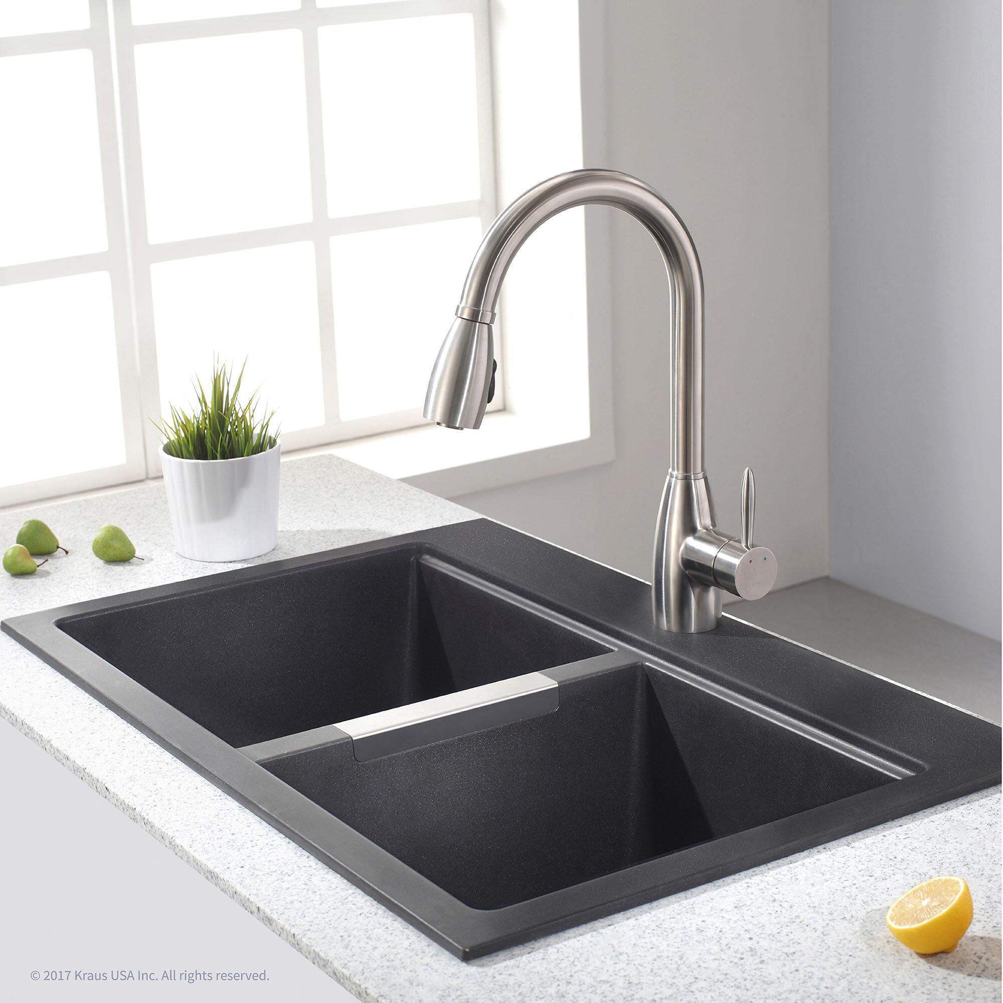 Kraus granite 33 x 22 double basin dual mount kitchen sink kraus granite 33 x 22 double basin dual mount kitchen sink reviews wayfair workwithnaturefo