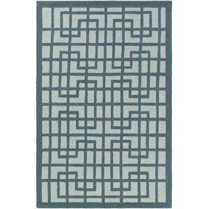 Marigold Lawson Hand-Crafted Teal/Mint Area Rug
