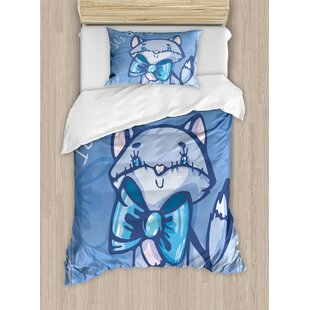 e115485ad441 Gender Reveal Decorations Cute Kitty Bow Tie It s Quote Baby Shower New Son  Family Duvet Cover Set