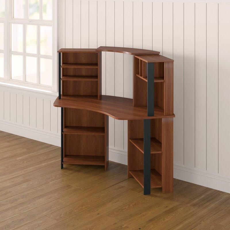 Winston Porter Hibbler Corner Writing Desk with Bookcase ...