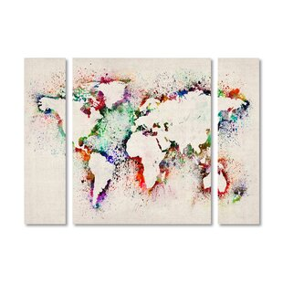 World map multi panel canvas wayfair world map paint splashes by michael tompsett 3 piece graphic art on wrapped canvas set publicscrutiny Choice Image