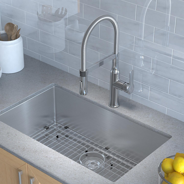 """KHU100-30-1640-42CH Kraus Handmade Series 30"""" x 18"""" Undermount on single kitchen sink faucet, farmhouse kitchen sink faucet, wall mount kitchen sink faucet,"""