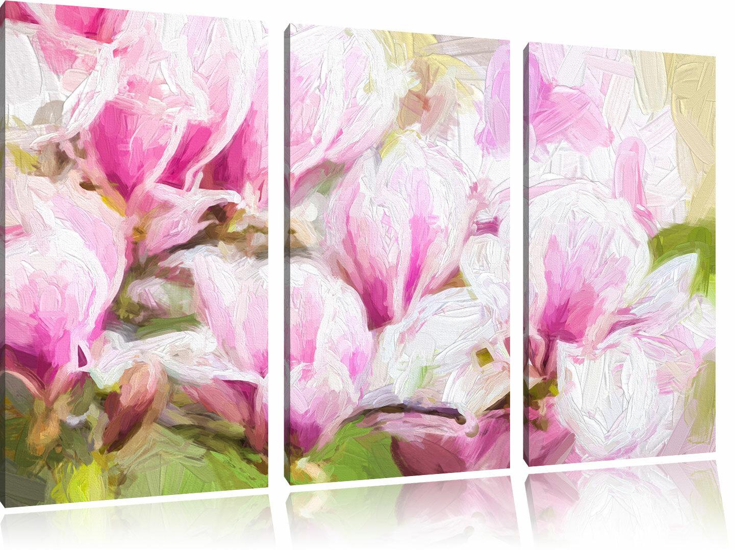 Home Loft Concept Delicate Pink Flowers 3 Piece Graphic Art Print