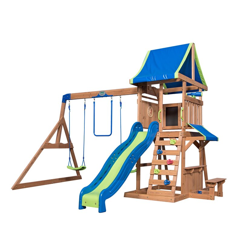Backyard Playset Reviews backyard discovery cedar point swing set & reviews | wayfair