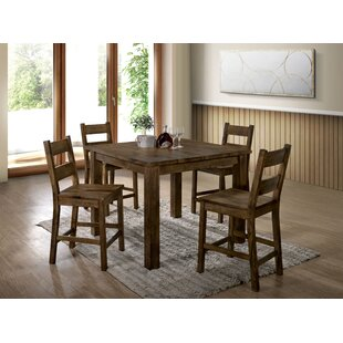 Garnett 5 Piece Counter Height Solid Wood Dining Set